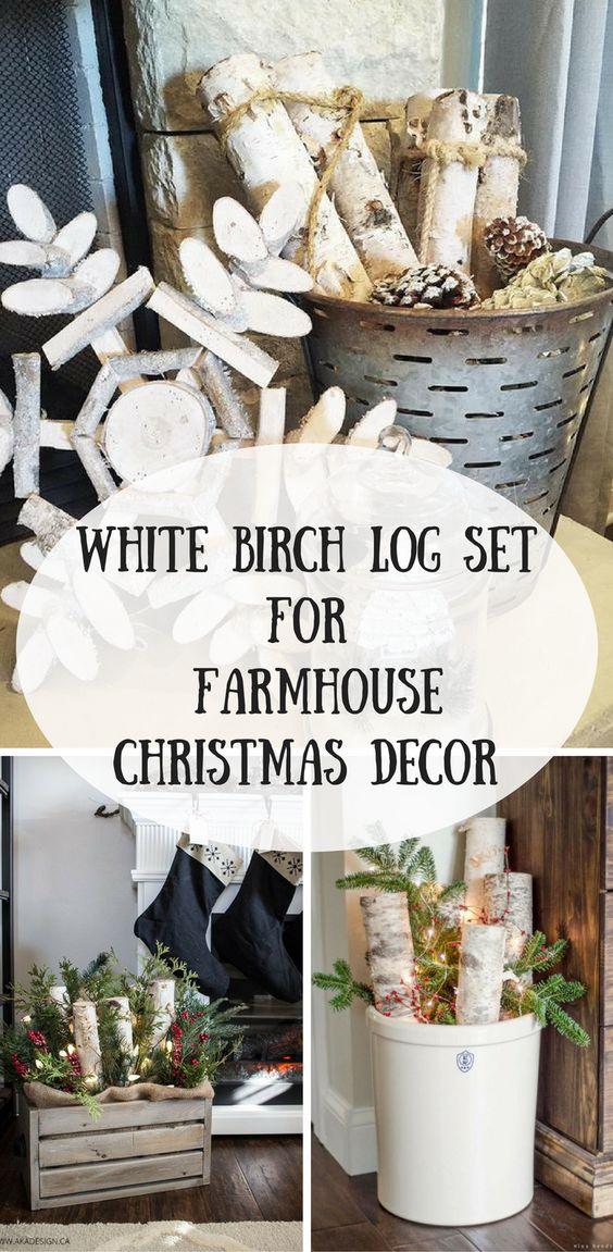 White Birch Log Farmhouse Christmas Decor