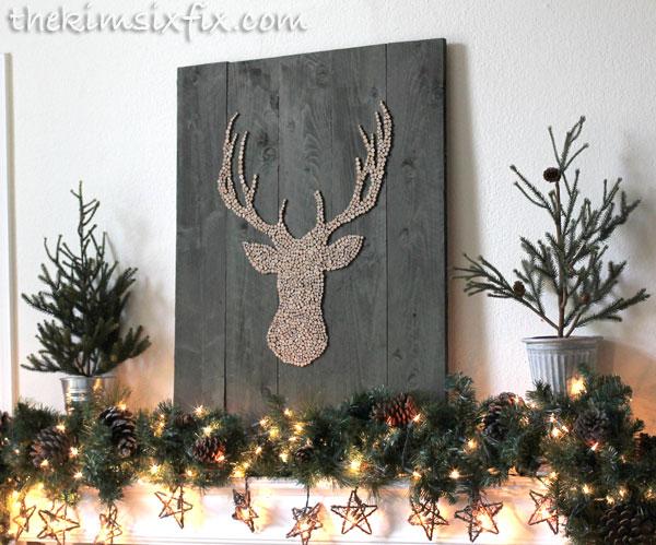 Wood Slice Deer Head Silhouette Pallet Art