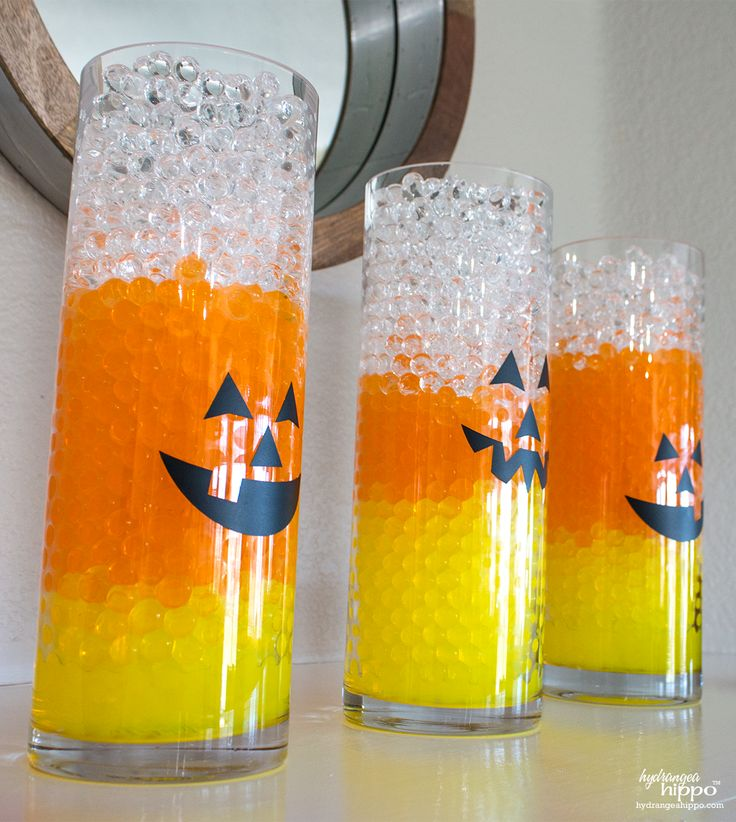 Candy Corn Vases with Water Beads
