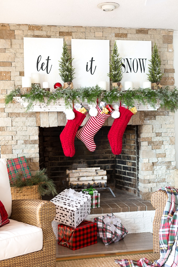 Christmas Mantel Decor : Let it Snow