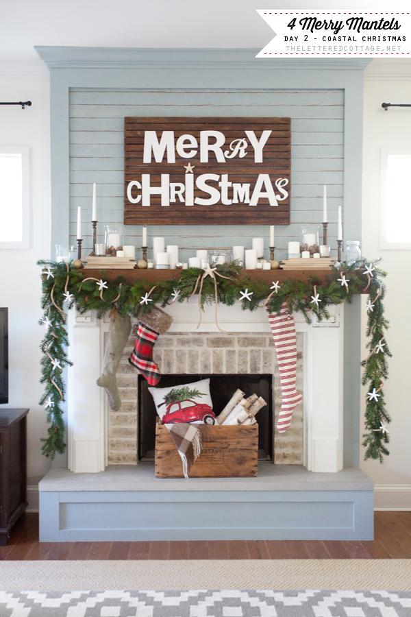 Coastal Christmas Mantel Decor