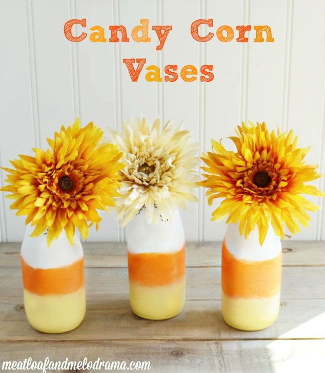 DIY Candy Corn Bottle Vases