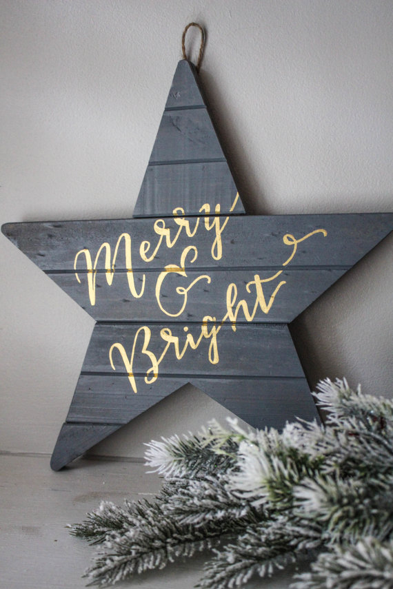 Merry and Bright - Gray, Holiday Wall Art