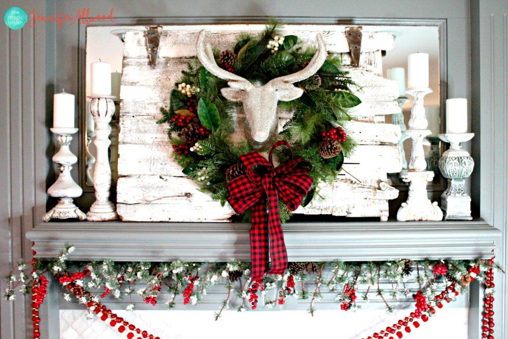 Reindeers and Wreath Christmas Mantel Decor