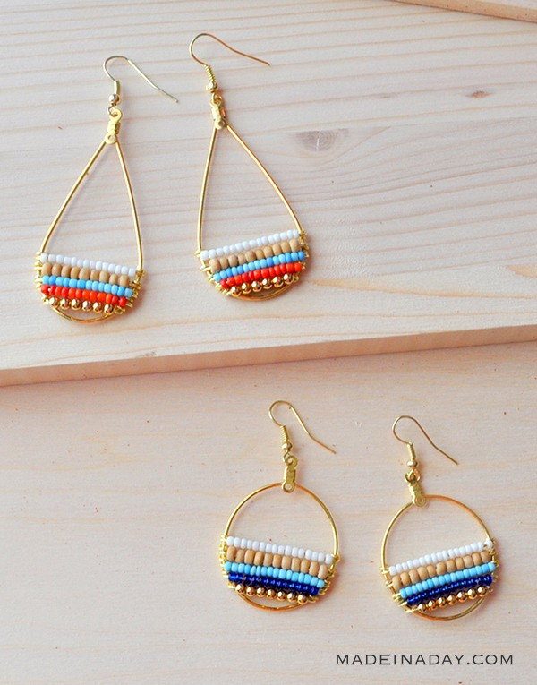 Beachy Bohemian Beaded Hoop Earrings