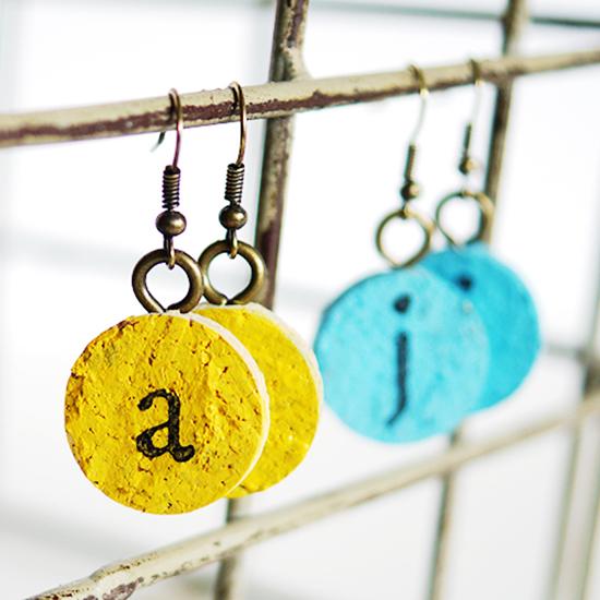 DIY Easy Cork Monogram Earrings