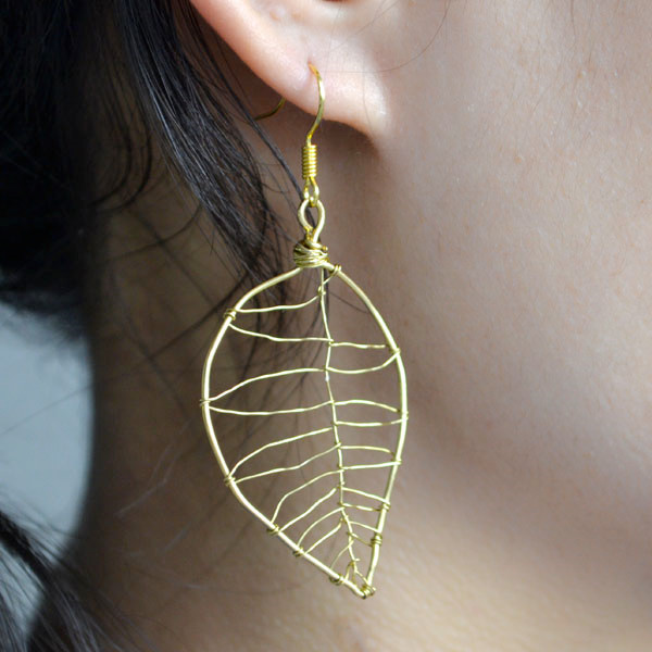 Gold Wire Leaf Earrings for Autumn