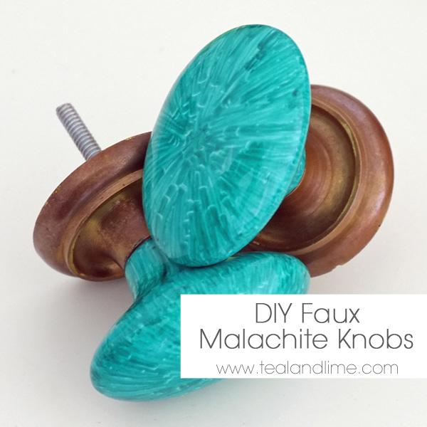 DIY Faux Malachite Knobs