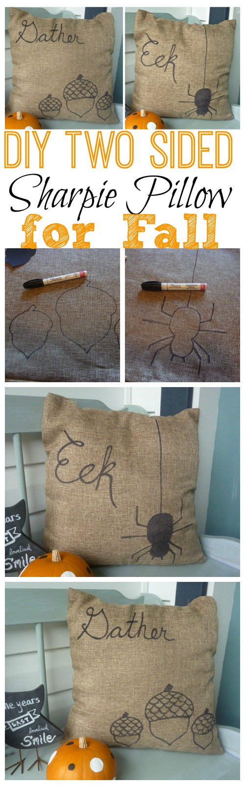 Quick and Easy DIY Two-Sided Sharpie Pillow for Fall