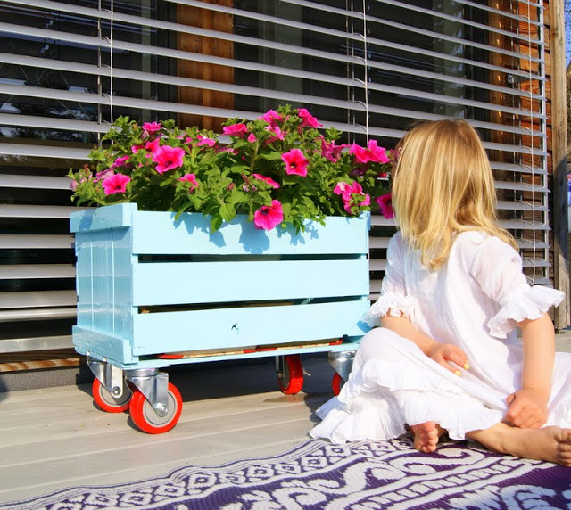 Wood Crate Flower Box