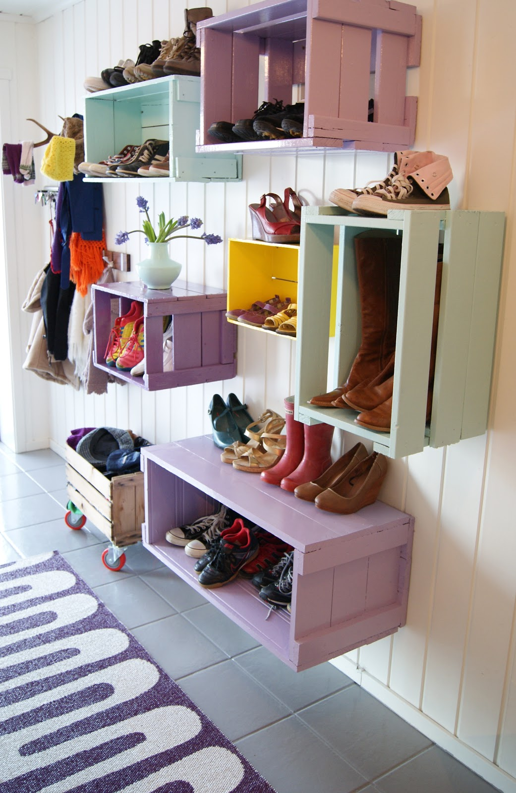 Wood Crate Shoe Shelves