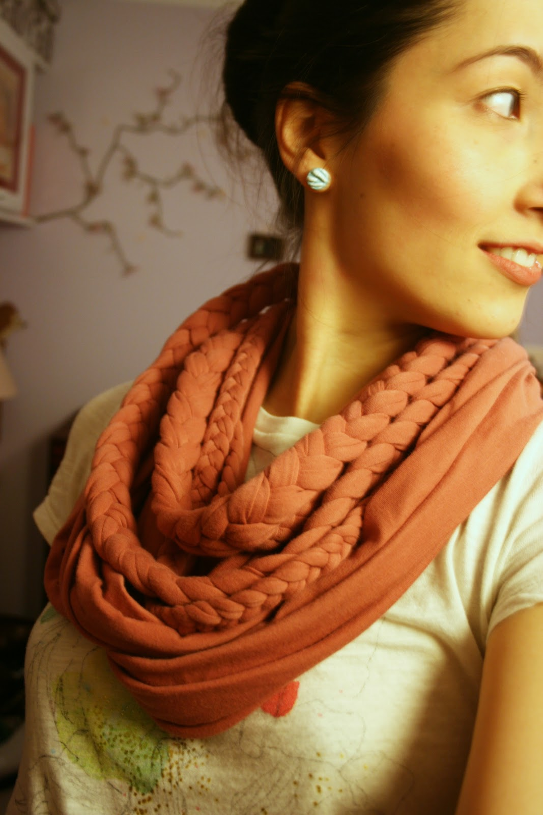 Braided Layered Scarf with Lace Neck