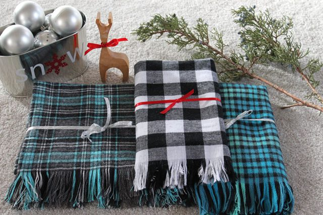 DIY Plaid Flannel Fringe Scarf