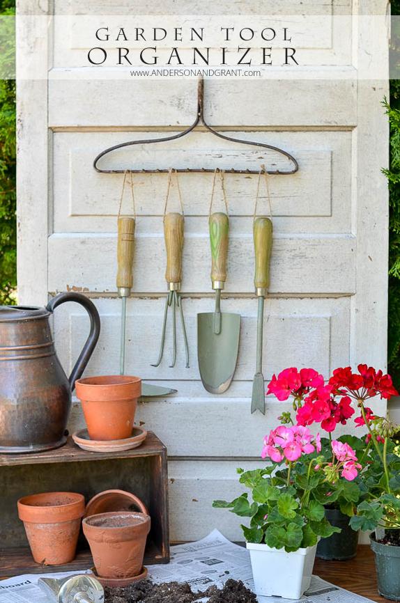 Organizing Garden Tools with a Repurposed Rake
