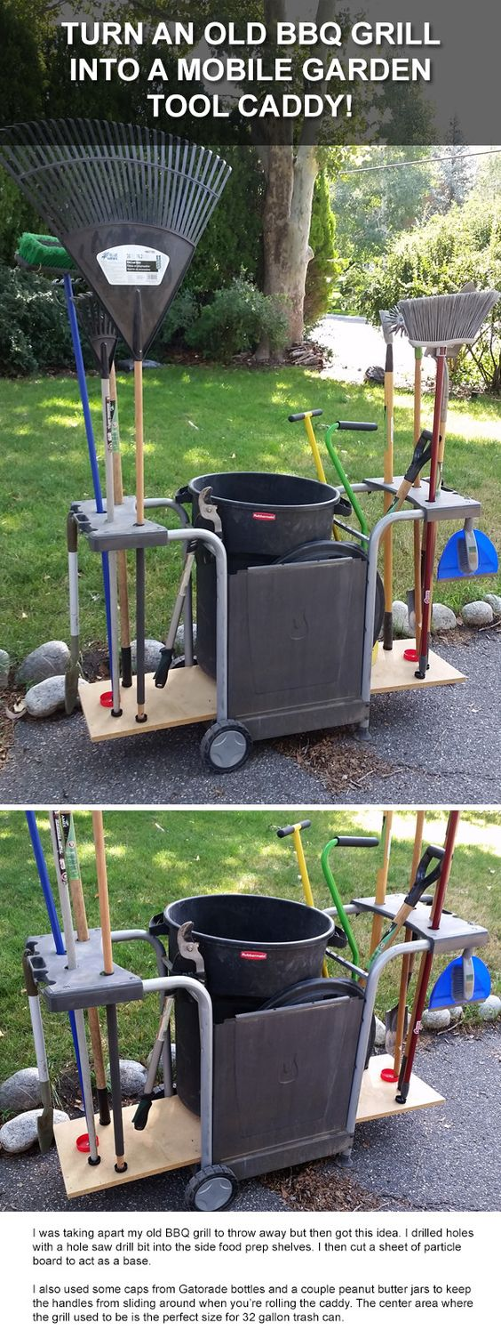 Turn an Old Barbecue Grill into a Mobile Garden Tool Caddy!