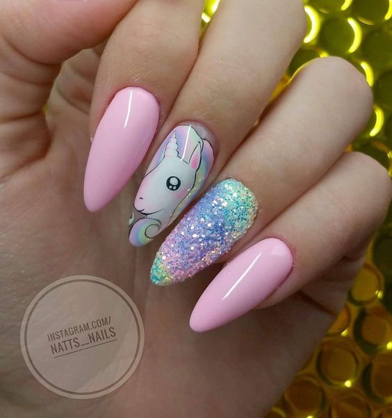 Glitter Rainbow Accents and Unicorn Nails
