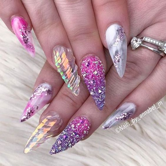 Translucent Unicorn Horn with Glitter Nails