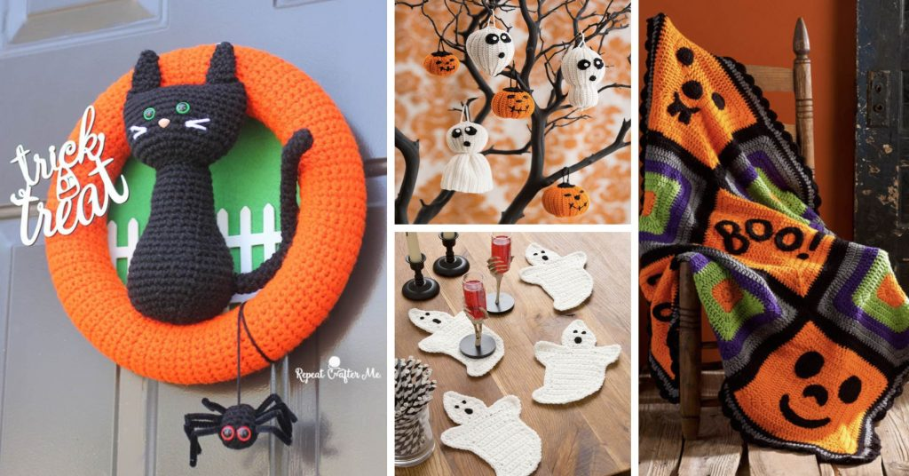 20 Halloween Decor Crochet Patterns Ranging From Pumpkins To Witch Hats
