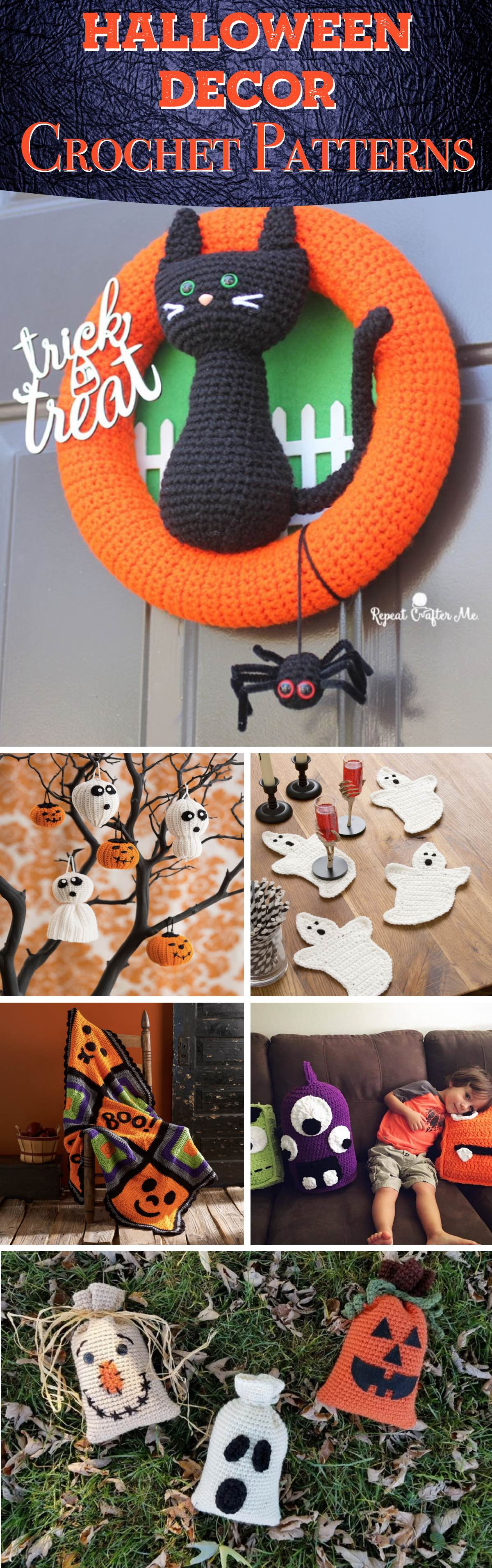 20 Halloween Decor Crochet Patterns Ranging from Pumpkins to Witch Hats!