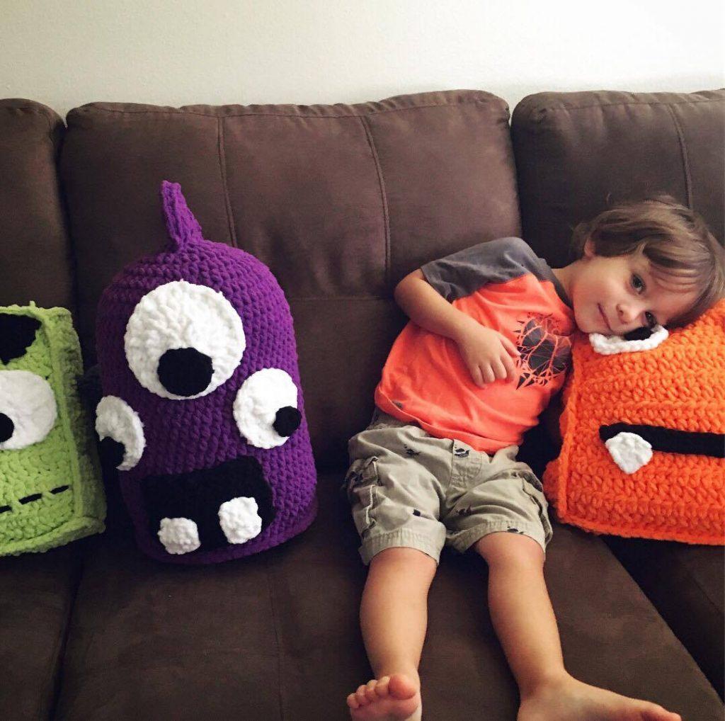 Marty the Crochet Monster Pillow