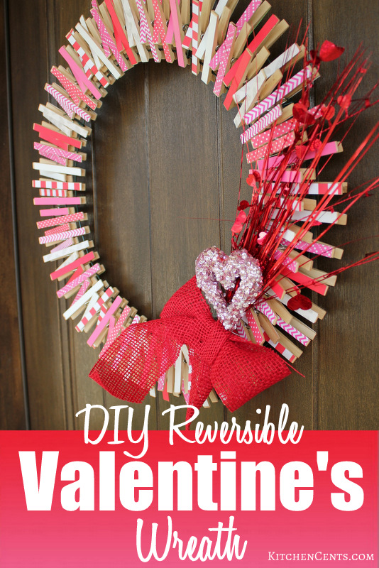 DIY Reversible Clothespin Valentines Wreath
