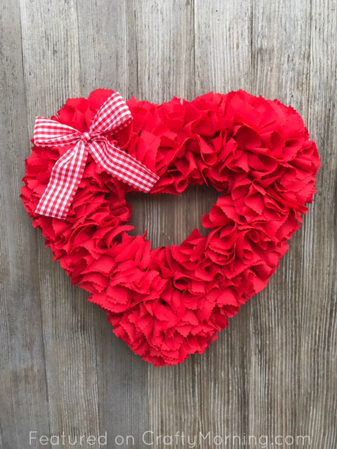 Fabric Strip Valentine Heart Wreath