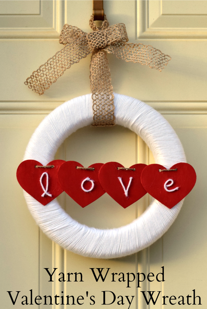 Yarn Wrapped Valentines Day Wreath
