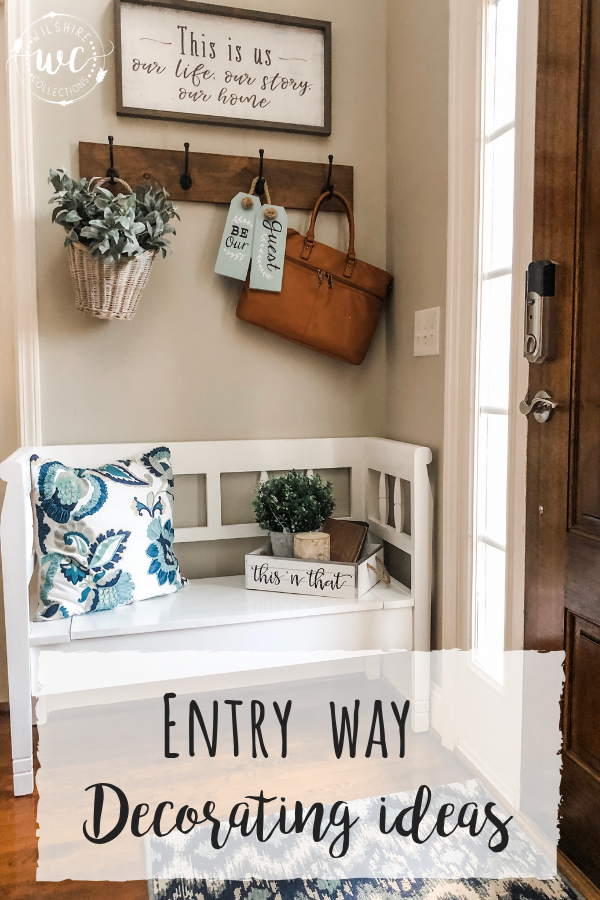 Entryway Decor Using A Storage Bench and Hooks