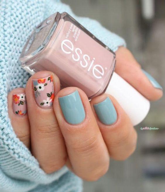 Pale Blue Pastel Nails