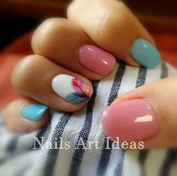 Pink and Blue Pastel Manicure