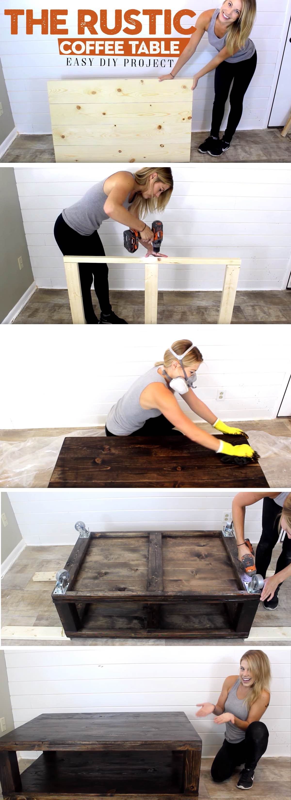 Easy DIY Tutorial for Building a Rustic Wheeled Coffee Table