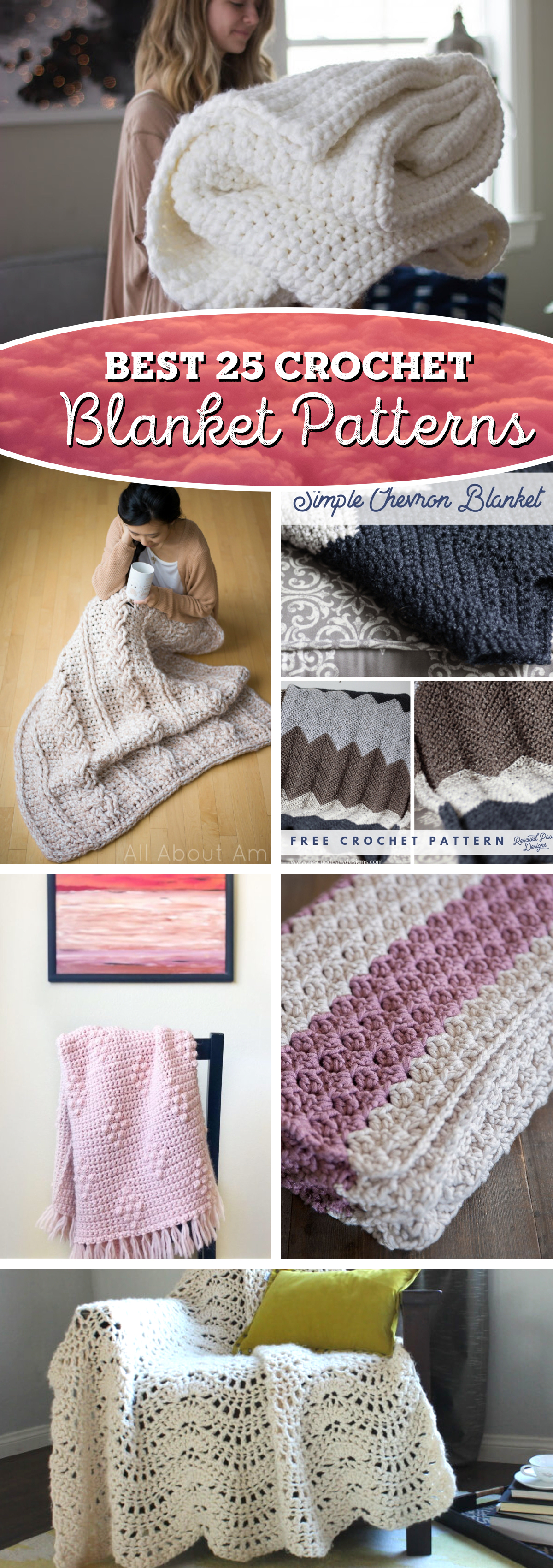 25 Crochet Blankets (Patterns) Coming with Soothing Designs and Cozy Textures!